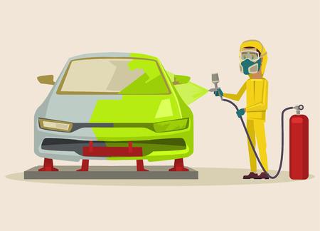 Car painting. Vector flat cartoon illustration Illustration
