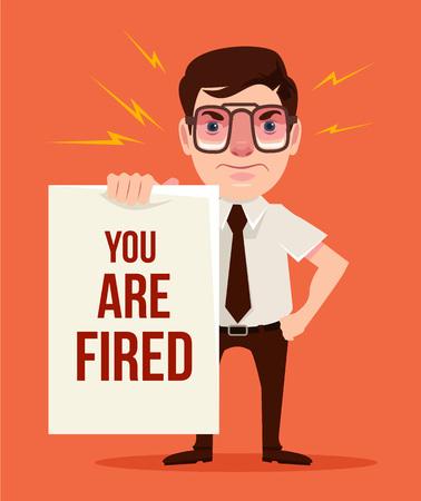 empleado de oficina: Estás despedido. jefe enojado. Vector ilustración de dibujos animados plana