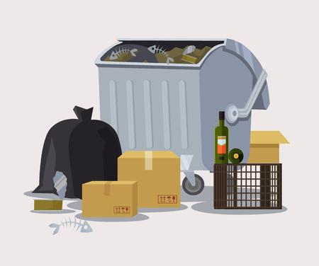 scrapheap: Street trashcan. Vector flat cartoon illustration