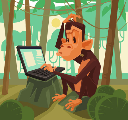 brooding: Monkey with laptop. Vector flat cartoon illustration