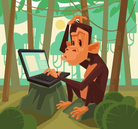 brooding: Monkey with laptop. Vector flat cartoon illustration