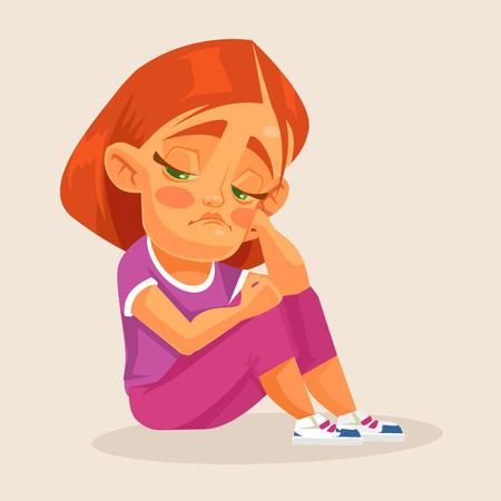 depression: Sad girl. Vector flat cartoon illustration