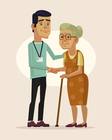 social work aged care: Social worker and grandmother. Vector flat cartoon illustration