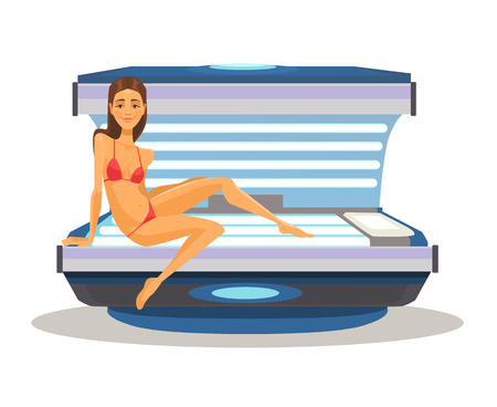 lying in bed: Woman in solarium. Vector flat cartoon illustration