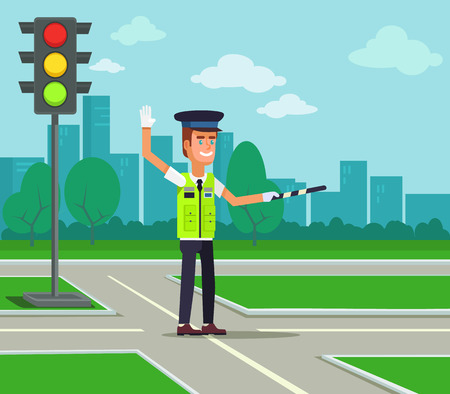 Traffic policeman. Vector flat cartoon illustration