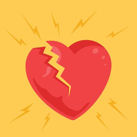 heart damage: Broken heart. Vector flat cartoon illustration Illustration