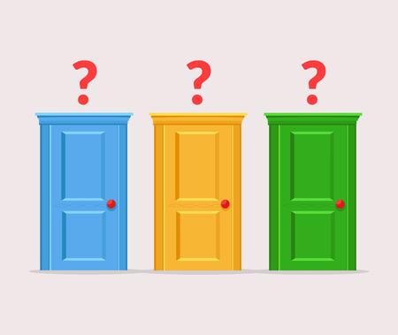 difficult: Difficult choices doors. Vector flat cartoon illustration