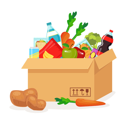 food drink industry: Food in box. Food delivery. Vector flat cartoon illustration