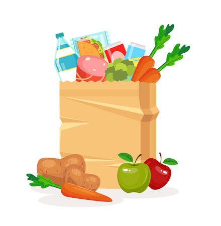 Food in package. Food delivery. Vector flat cartoon illustration