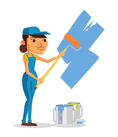 spindle: Girl painter. Vector flat cartoon illustration