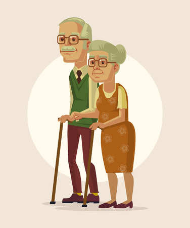 Happy couple of grandparents. Vector flat cartoon illustration