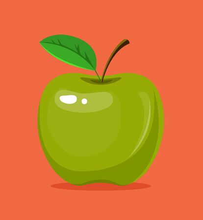 Whole green apple. Vector flat cartoon illustration