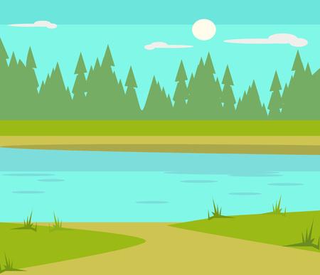 Lake flat cartoon illustration  イラスト・ベクター素材
