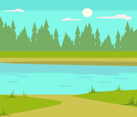 Lake flat cartoon illustration Illustration