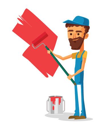 painter: Man painter. Vector flat cartoon illustration