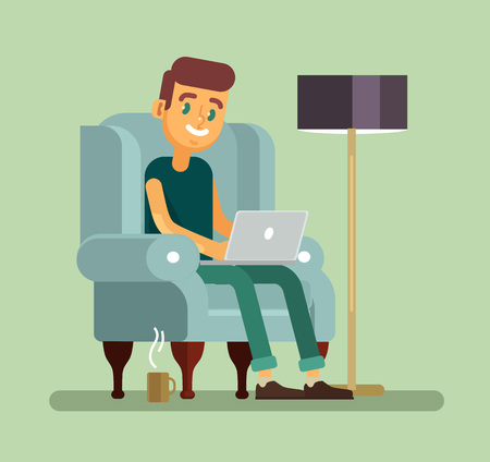 stubble: Man with laptop relaxing in chair. Vector flat cartoon illustration Illustration