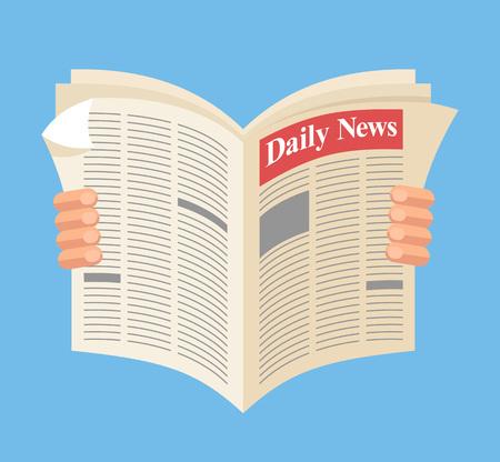 新聞。毎日のニュース。ベクトル フラット漫画イラスト  イラスト・ベクター素材