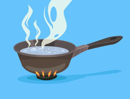 Faire bouillir l'eau dans une casserole. Vector plate illustration de bande dessinée
