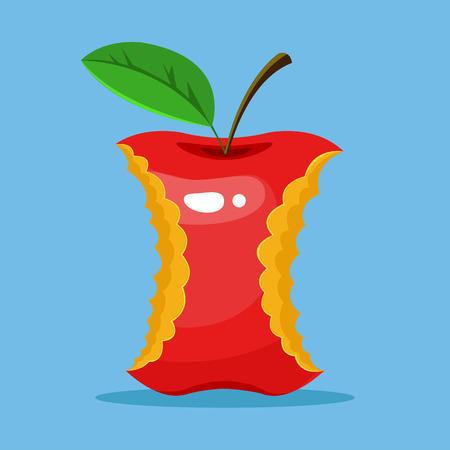 stub: Stub of red apple. Vector flat cartoon illustration