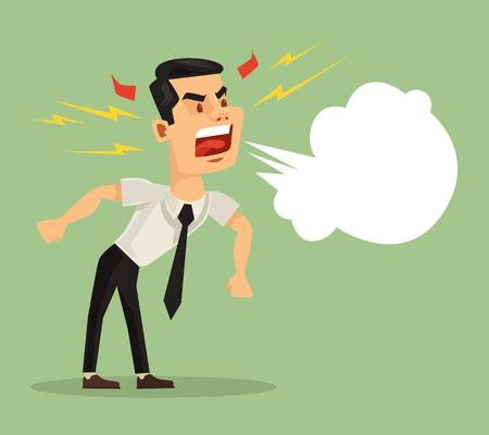 screaming: Angry screaming man. Vector flat cartoon illustration Illustration