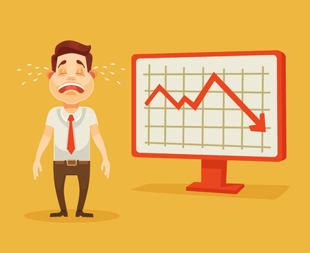 graph down: Business fail. Graph down. Crying businessman. Vector flat cartoon illustration