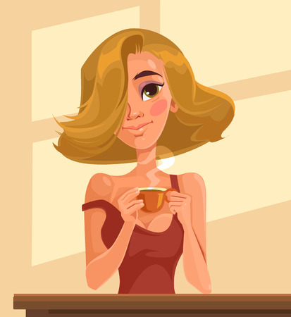 Good morning sexy blonde girl with cup of coffee. Vector flat cartoon illustration