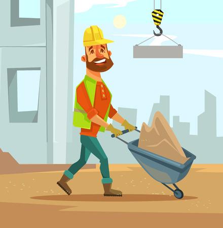 scaffold: Builder. Construction industry. Vector flat cartoon illustration
