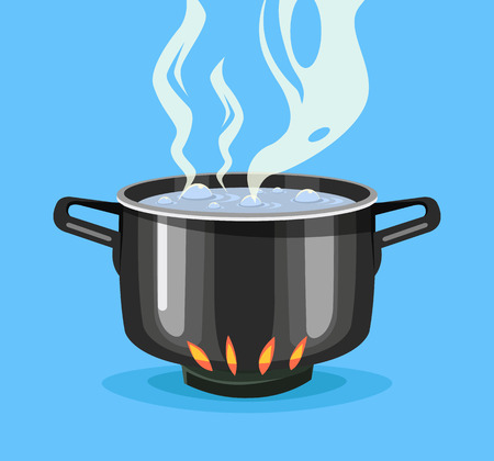 boiling water: Boiling water in pan. Big black pot. Vector flat cartoon illustration