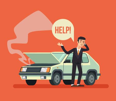 Człowiek stojący w pobliżu uszkodzony samochód i telefon. Wektor ilustracja kreskówka płaska Ilustracje wektorowe