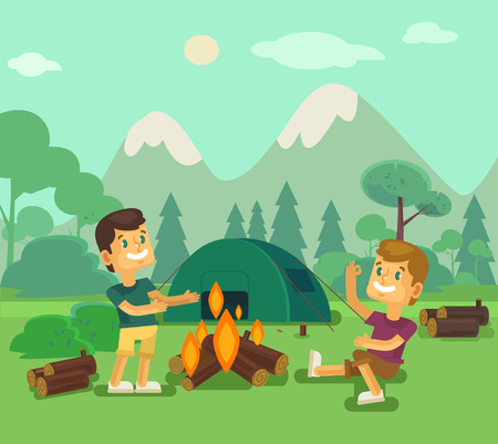 bonfire: Camping. Vector flat cartoon illustration