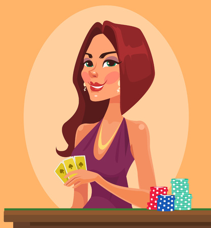 Beauty woman holding cards. Casino vector flat cartoon illustration