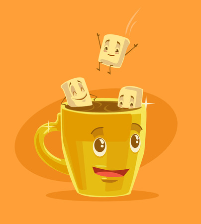 cocoa: Cup of coffee with marshmallows. Vector flat cartoon illustration
