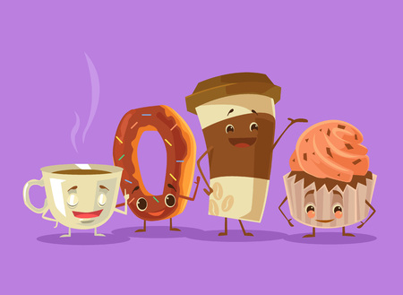 Coffee tea cake donut best friends. Vector flat cartoon illustration