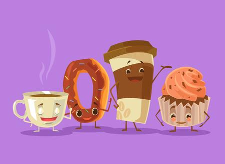 Koffie, thee, cake donut beste vrienden. Vector flat cartoon illustratie Stock Illustratie