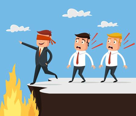 Bad leader. Wrong way. Vector flat cartoon illustration