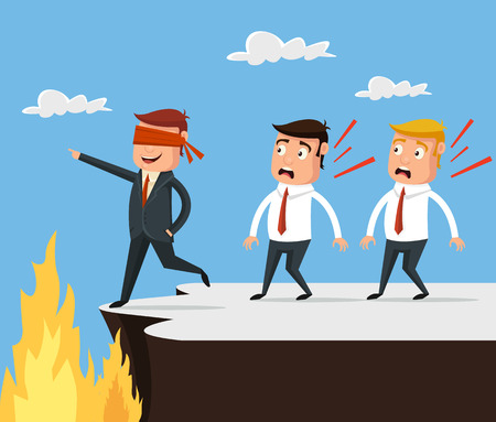 Bad leader. Wrong way. Vector flat cartoon illustration Banco de Imagens - 57533374