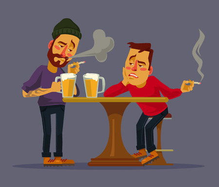 Two drunk friends discus problems. Vector flat cartoon illustration Stock Illustratie