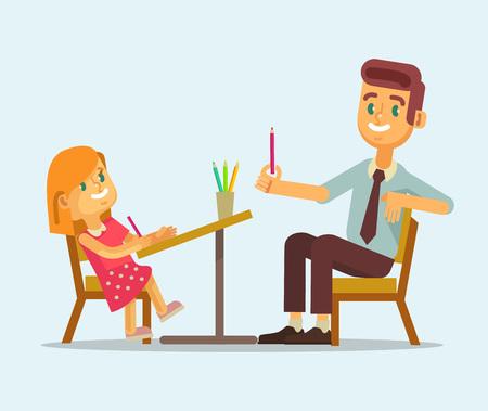 homework: Father and daughter doing homework. Vector flat cartoon illustration Illustration