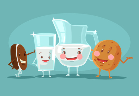 best friends forever: Milk and cookies best friends. Vector flat cartoon illustration