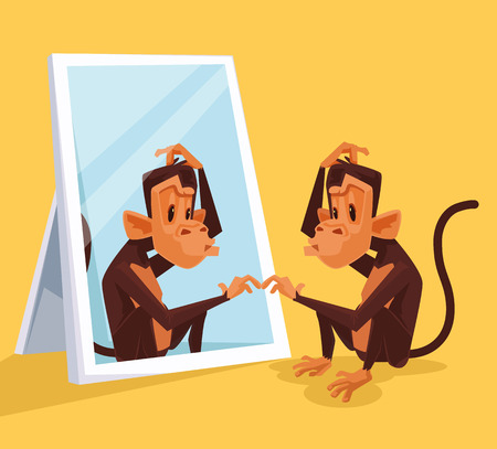 mirroring: Monkey looks in mirror and did not understand who it is. Vector flat cartoon illustration