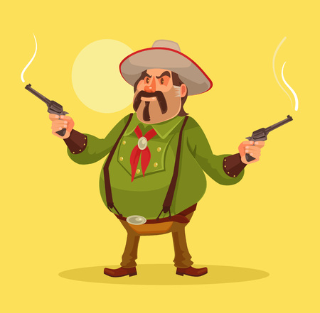 winchester: Mexican robber. Whild west. Vector flat cartoon illustration