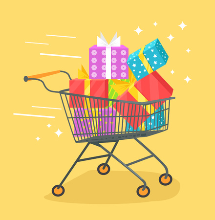 waggon: Trolley with shopping bags and gift box. Vector flat cartoon illustration