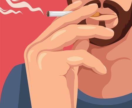 smoking cigarette: Man smoking cigarette. Vector flat cartoon illustration