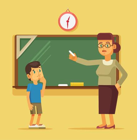 Teacher explains task student boy. Vector flat cartoon illustration