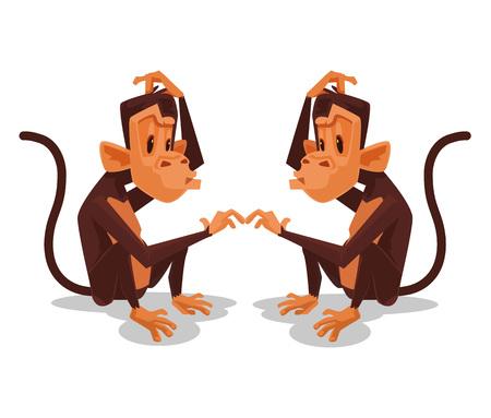 Dos se miran el uno al otro mono. Vector ilustración de dibujos animados plana Ilustración de vector