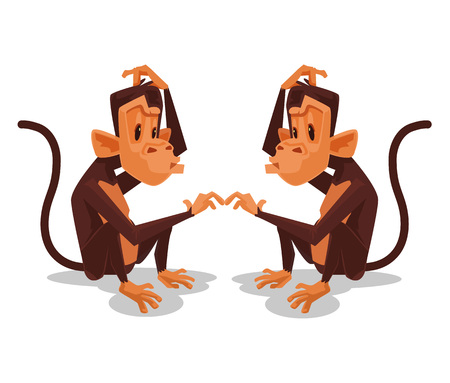 look at: Two monkey look at each other. Vector flat cartoon illustration