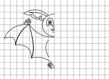 Bambini gioco finitura pipistrello pareggio. Vector cartoon illustrazione gioco
