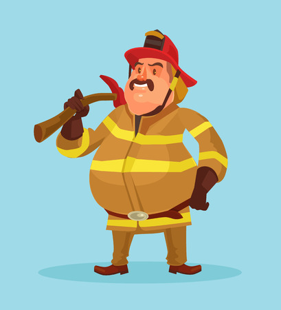 firefighting: Firefighter in uniform. Vector flat cartoon illustration