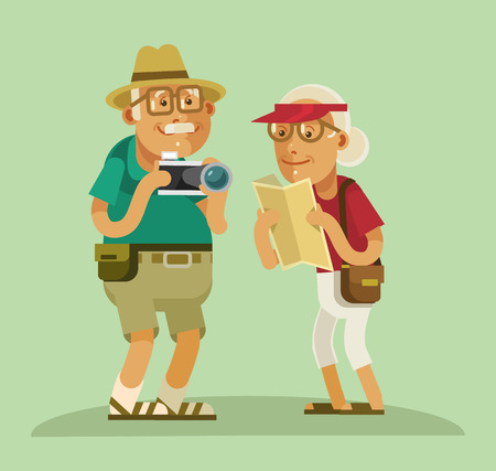 trip: Grandparents tourists. Vector flat cartoon illustration