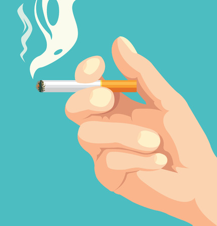 alerting: Hand with smoking cigarette. Vector flat cartoon illustration